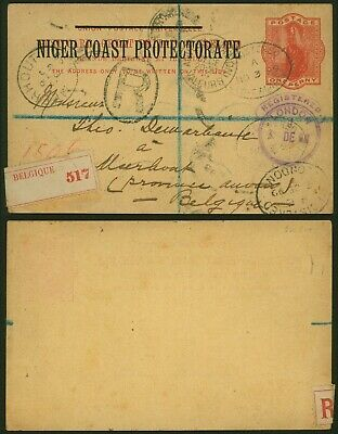 Niger Coast Protectorate 1899 - Registered stationery to Meerhout Belgium