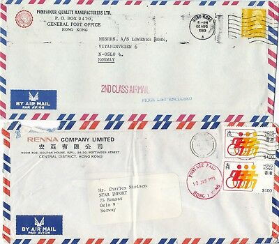 Hong Kong - two nice covers - Postage Paid and 2nd class mail