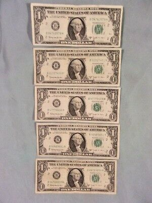 LOT OF 5 1963-B $1 FEDERAL RESERVE BARR NOTES, Fed. Res. of New York