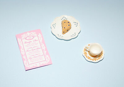 Gold & White Cup & Saucer, Pastry on Plate, Menu BARBIE Diorama Accessories