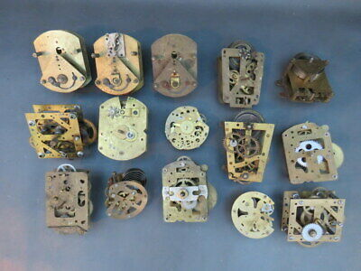 Job lot of 15 small vintage clock movements for parts spares steampunk