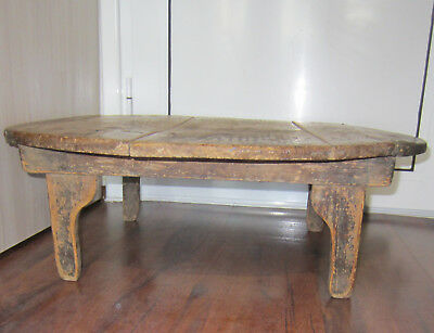 """27 x 9""""  >  19thC  ANTIQUE primitive wooden  low rustic round dining Table"""