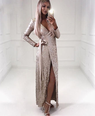 d8fc716959 HOT NEW SEXY, Side Slit Sequin Maxi Dress in Black and Gold - $59.50 ...