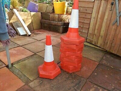 Traffic Safety Cone 45 cm high  Orange with reflective covers set of 10