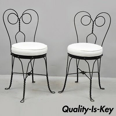 Pair of Antique Twisted Heart Back Wrought Iron Ice Cream Parlor Dining Chairs