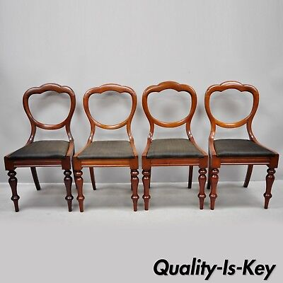 4 Antique 19th Century English Victorian Balloon Back Mahogany Library Chairs