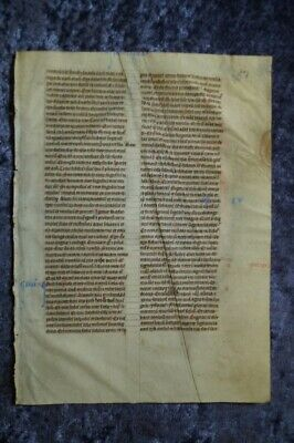 Decorativ Illuminated Manuscript Leaf Bible Vellum England 1260 #c109