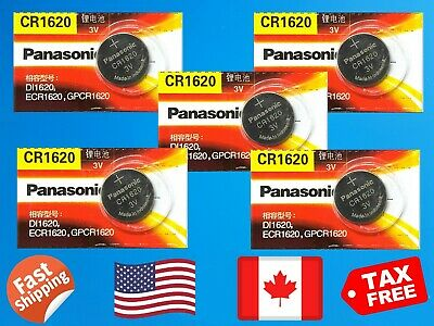5X Panasonic CR1620, 3V Lithium Battery. For Cameras, Remotes, Watches. TAX Free