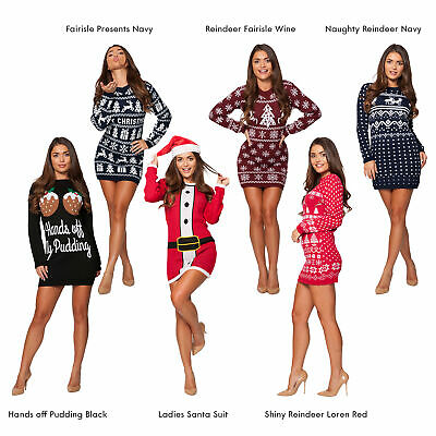 Ladies Womens Christmas Party Xmas Novelty Knitted Tunic Retro Dress Jumper 2019