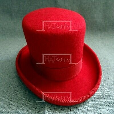 CLASSIC Wool Felt Mini Top Hat Women Fascinators Ladies Topper Party NEW | Red