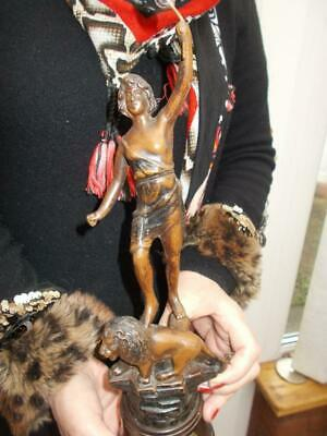 """Antique Spelter Figure Girl """"vitality Bronzed Finish  Early 1900S Nice Condition"""