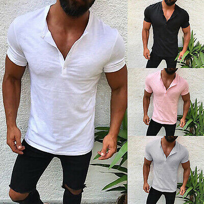 US Mens Slim Fit V Neck Short Sleeve Muscle Tee T-shirt Casual Top Henley Shirts