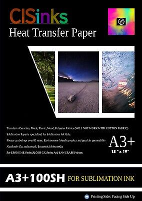 "100 sheets +A3 13""x19"" Inch 100gsm Thick Sublimation Inkjet Heat Transfer Paper"