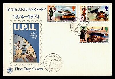 DR WHO 1974 ANTIGUA FDC UPU CENTENNIAL CACHET TRAIN TRANSPORTATION COMBO  d84914