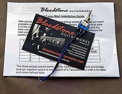 BLOODSTONE Strat 7-way Upgrade Kit - Adds Neck&Bridge, All 3 pickups - Gilmour