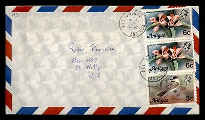 DR WHO 1981 ANTIGUA ALL SAINTS AIRMAIL TO ST KITTS FLOWER PAIR  d85498