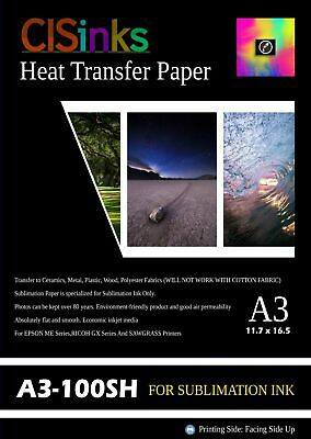 """100 sheet A3 11.7""""x16.5""""Inch 100gsm Thick Sublimation Inkjet Heat Transfer Paper"""