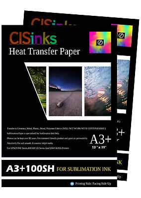 "200 sheets 13"" x 19"" 100gsm Thick Sublimation Inkjet Heat Transfer Paper A3+"