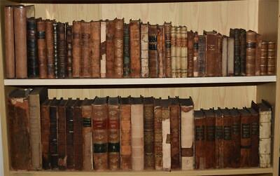 Large Collection 61 Books ANTIQUE LEATHER History Poetry America Greece 1710