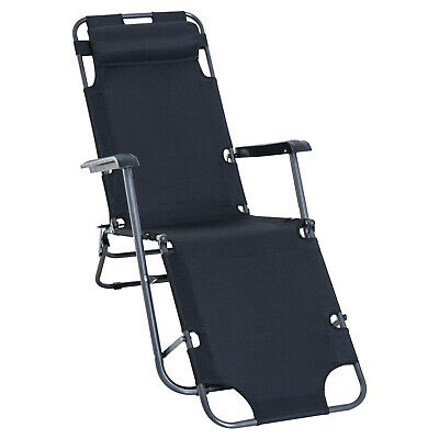 Outsunny Reclining Chaise Lounge Chair Portable Backyard Black