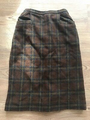 🐻 VINTAGE 1950's UK8 WOOL TARTAN PLAID CHECKED HIGH WAISTED SKIRT INSTAGRAM
