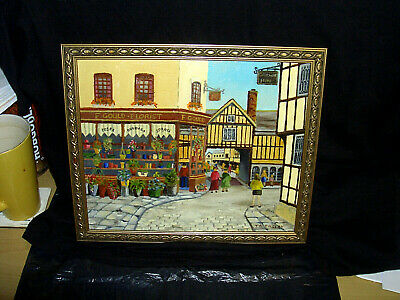 "Vintage Ta.insley Oil On Board ""town Scene"" Wall Oil Painting"