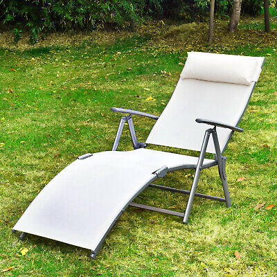 Outsunny Lounger Chaise Reclining Chair Tri-Fold Portable Beach Cream