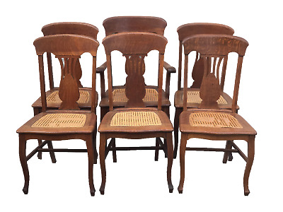 Ca.1900 Antique Set 6 Oak Victorian P. Derby T-Back Dining Chairs W/ Cane Seats