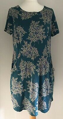 White Stuff women's green teal floral patterned tunic dress/top size 16