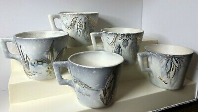Vintage Sascha Brastoff Cups Lot of 5 California Pottery