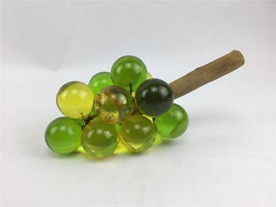 Vintage Mid Century Lucite Acrylic Green & Gold Grape Cluster On Driftwood