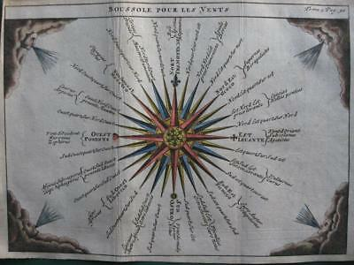 1729 - ANONYMOUS - Small handcolored COMPASS ROSE 32 winds