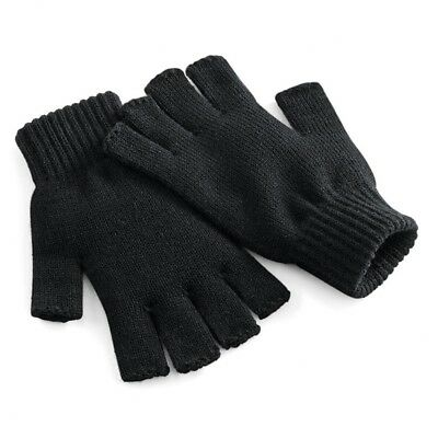 Mens womens adult Fingerless Warm Thermal Winter Gloves one size