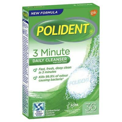 * Polident 3 Minute Daily Cleanser For Dentures 36 Tablets Full & Partials