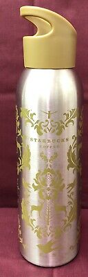 Starbucks Coffee 24oz Metal Water Bottle 2008 Deer Silver tone Cold Container