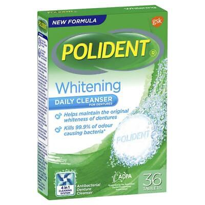 * Polident Whitening Daily Cleanser For Dentures 36 Tablets Kills Odour Bacteria