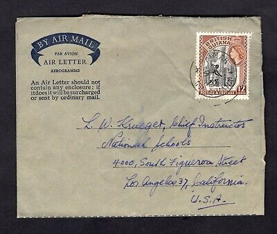 1957 British Guiana Advertising Air Letter Aerogramme QEII 12ct Stamp Scott #260