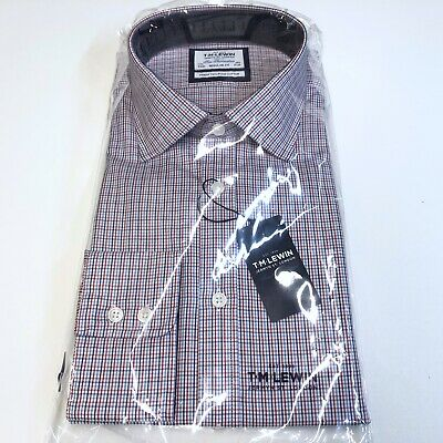 Mens T.M.LEWIN Shirt 17.5 Easy Iron Regular Fit White Blue Red Check Button Cuff