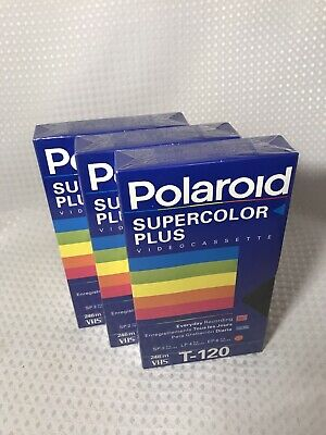 3 New Polaroid Supercolor Plus Vhs T-120 Tapes  Brand New Sealed! Lot