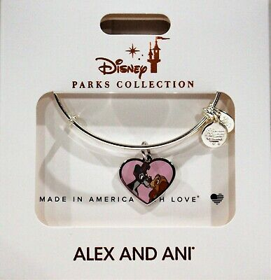 Alex and Ani Disney Lady & the Tramp Bracelet Silver-Tone Heart Charm Bangle