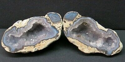 """Quality 5.40"""" Matching Quartz lined with Agate Mexican Coconut Geode Pair CP463"""