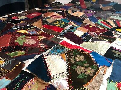 1800s CRAZY QUILT SQUARES HAND EMBROIDERY  22 ALL HAND DONE AND BEIGE BACKING