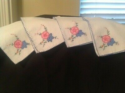 Vintage Estate Tea Luncheon Napkins with Hand Embroidery - Set of 4
