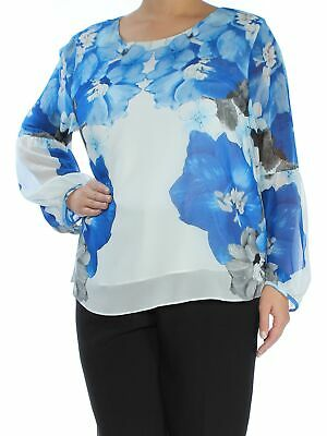 ff953f1755b CALVIN KLEIN  79 Womens New 1248 Blue Floral Jewel Neck Long Sleeve Top XL  B+