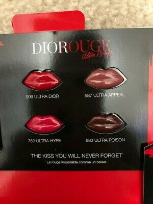 Dior Ultra Rouge Pigmented Hydra Lipstick Sample Card Shades 999 587 763 883