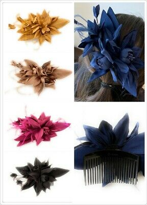 Silky Fabric Flower Feather Wedding Ascot Fascinator on Comb Hair Accessories