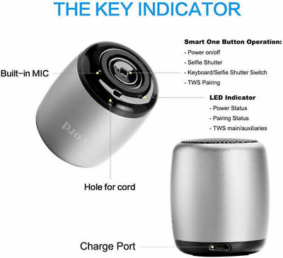 Ancord Micro Bluetooth Speaker TWS System Portable Tiny Body Loud Voice Shutter