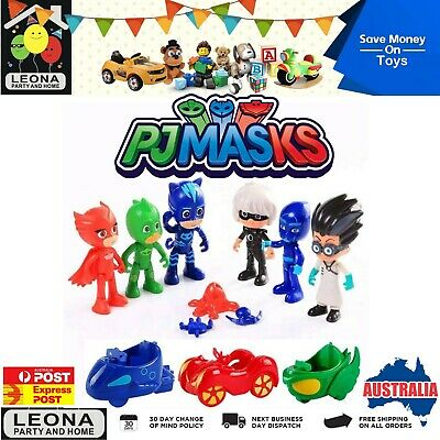 13pcs PJ Masks Figuries Toy Cars Cartoon Set Catboy Gekko Owlette Gift Box AU