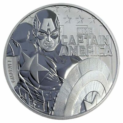 2019 Tuvalu Marvel Series Captain America 1 oz Silver Capsuled BU Coin PRE-SALE
