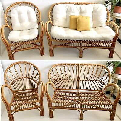 Vtg Mid Century Bamboo Bent Wood Cane Wicker Rattan Chair Sofa Couch Set MCM